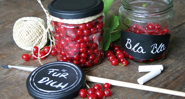 Tafellack auf Glas - Etiketten mit Tafellack