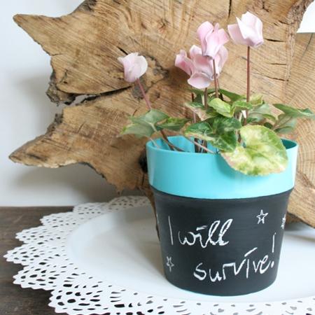 i will survive - Blumentopf mit Tafellack