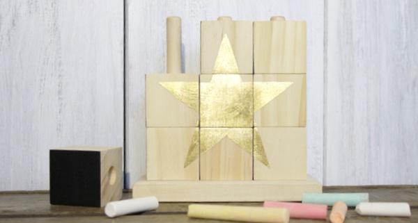 goldenes Sternenpuzzle DIY Holzspielzeug