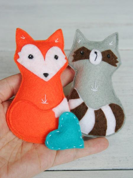 Fuchs und Waschbär aus Filz