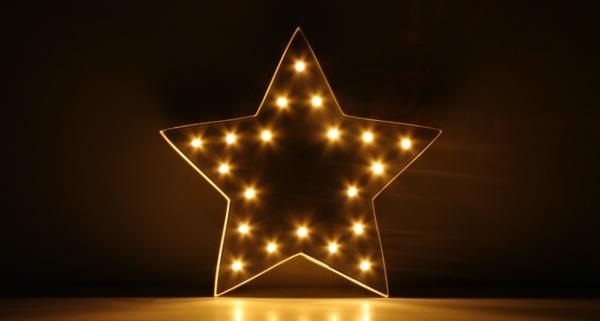 Lichtreklame aus Sternschachtel - Küsschenpralinen