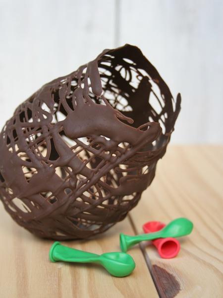 Schokoladennestgitter mittels Ballon realisiert