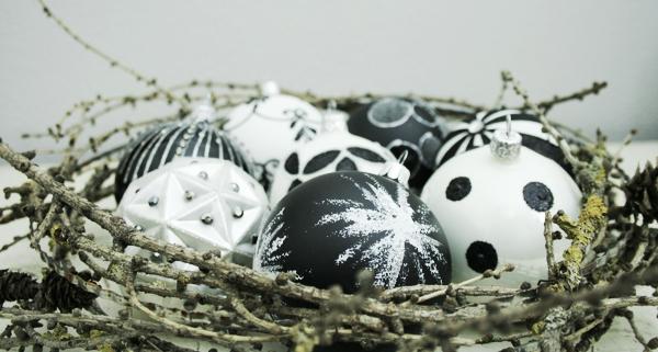 Weihnachtskugeln schwarz - weiß